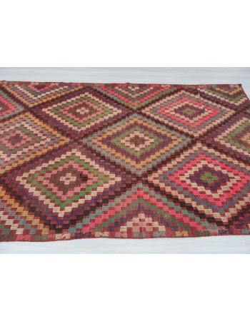 Vintage embroidered Turkish kilim rug