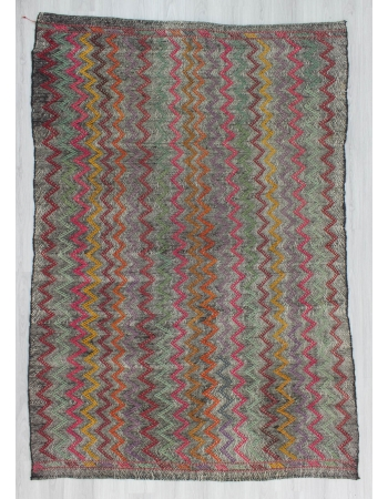 Vintage decorative embroidered Turkish kilim rug