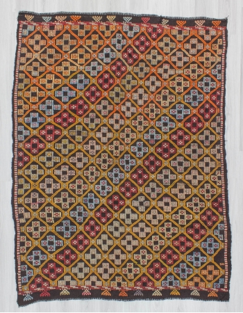 Embroidered Turkish kilim rug