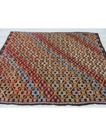 Embroidered Turkish kilim rug