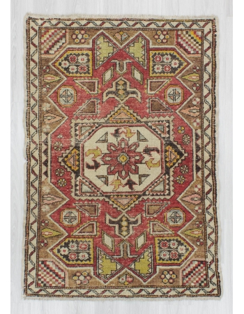 Vintage handknotted decorative Turkish Konya rug