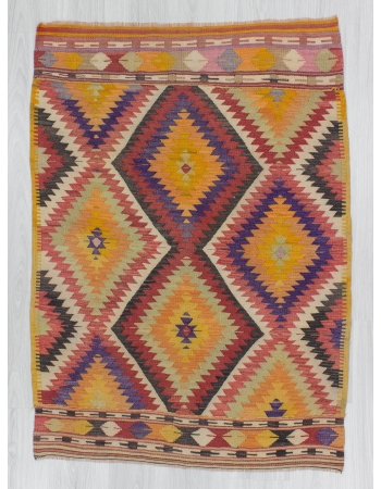 Vintage colorful small Turkish kilim rug