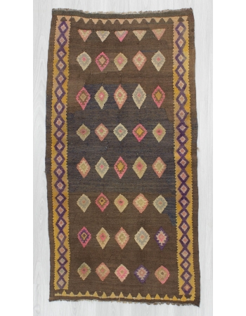 Vintage decorative Turkish Kars kilim rug