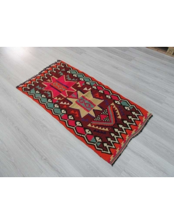 Vibrant colors small Turkish kilim rug