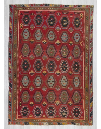 Vintage large decorative Turkish kilim rug