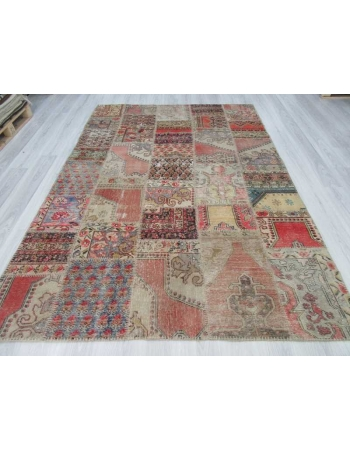 Decorative vintage Turkish patchwork rug