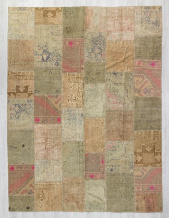 Oversized pastel vintage decorative Turkish patchwork rug