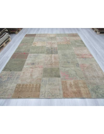 Vintage pastel Turkish patchwork rug