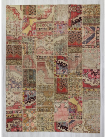 Oversized vintage decorative Turkish patchwork rug