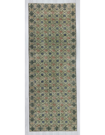 Vintage handknotted decorative soft green Turkish area rug