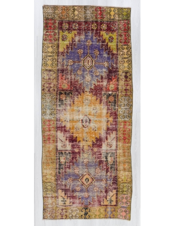 Distressed colorful unique Turkish rug