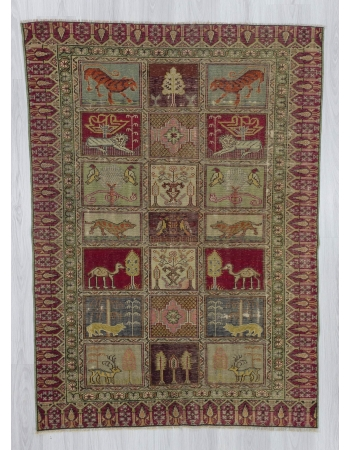 Vintage decorative Turkish rug with animal figures