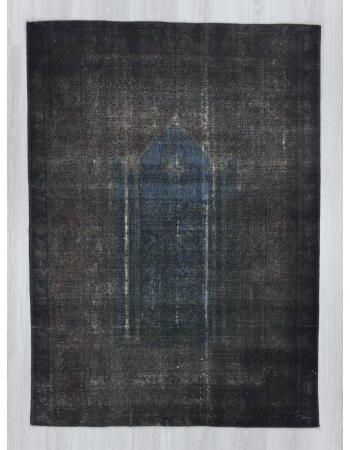 Vintage dark grey overdyed Turkish rug