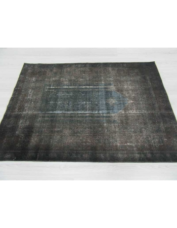 Vintage dark grey overdyed Turkish rug