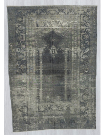 Vintage artificial silk gray overdyed Turkish rug