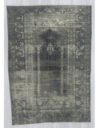 Vintage artificial silk gray overdyed Turkish rug