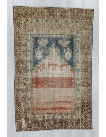 Vintage distressed Turkish prayer rug