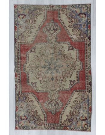 Vintage distressed Turkish area rug