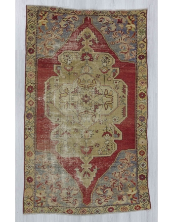 Vintage worn out Turkish Konya rug