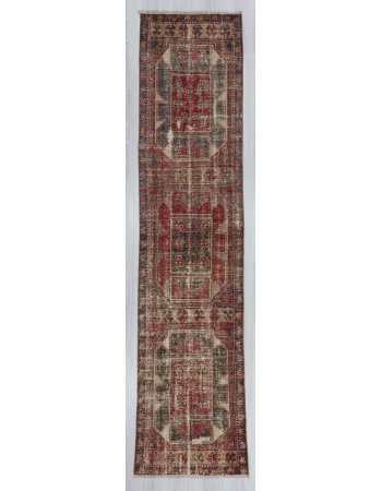 Vintage distressed Turkish runner rug