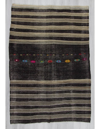 Handwoven vintage black and grey striped embroidered goat hair Turkish kilim rug