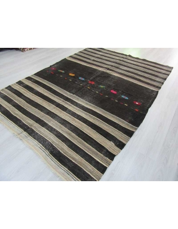 Handwoven vintage black and grey striped embroidered goat hair Turkish kilim rug