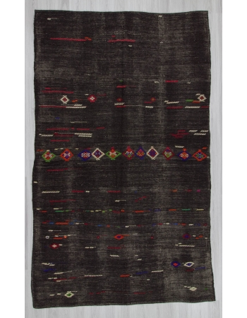 Vintage handwoven embroidered black large Turkish kilim rug