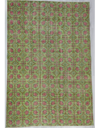 Green Vintage Turkish Floral Rug