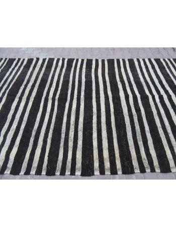 Black / White Striped Vİntage Turkish Kilim Rug