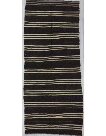 Striped Vintage Turkish Goat Hair Kilim Rug