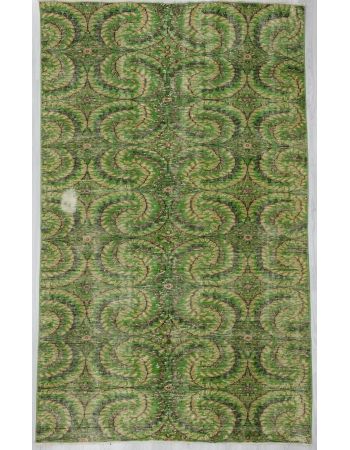 Vintage Floral Green Turkish Carpet