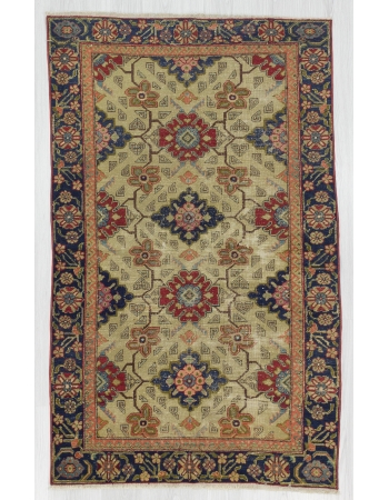 Distressed Vintage Geometric Turkish Rug