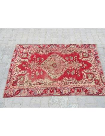 Worn Vintage Turkish Anatolian Rug