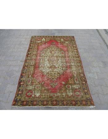 Distressed Vintage Turkish Anatolian Carpet