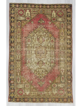 Distressed Vintage Turkish Anatolian Carpet
