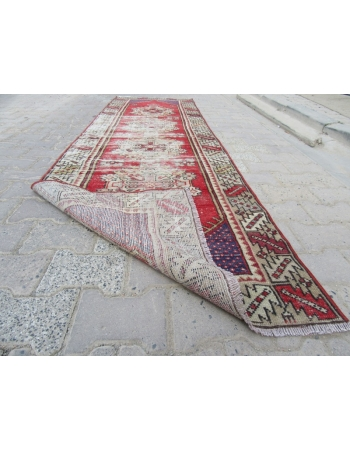 Worn Out Vintage Turkish Runner Rug