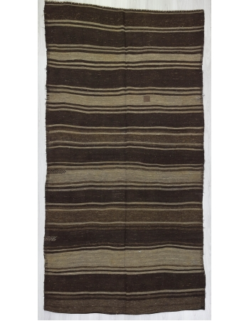 Striped Unique Brown Goat Hair Kilim Rug