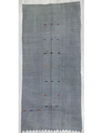 Overdyed Gray Vintage Hemp Kilim Rug
