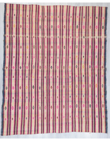 Pink Striped Large Turkish Cotton Kilim Rug