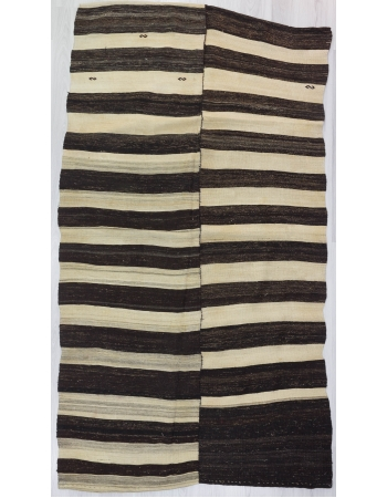 Black / Cream Striped Vİntage Turkish Kilim Rug