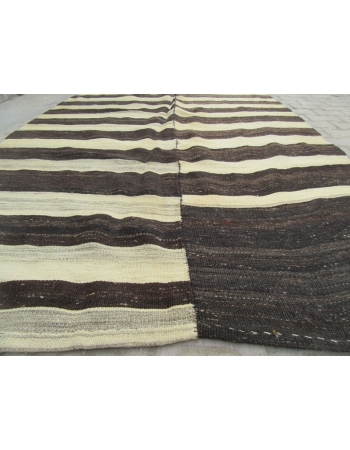 Black / Cream Striped Vİntage Turkish Kilim Rug