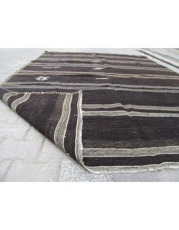 Gray / Black Striped Vintage Turkish Kilim Rug