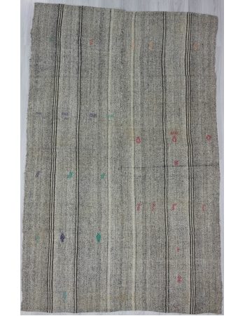 Vintage Gray Turkish Kelim Rug