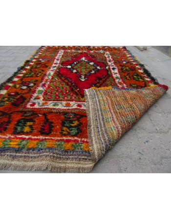 Vintage Colorful Piled Turkish Konya Rug