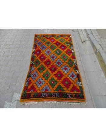 Colorful Vintage Turkish Tulu Rug