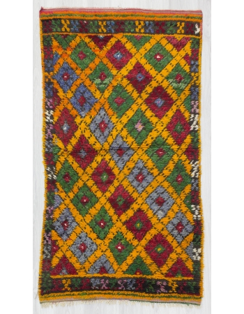 Colorful Vintage Turkish Tulu Rug