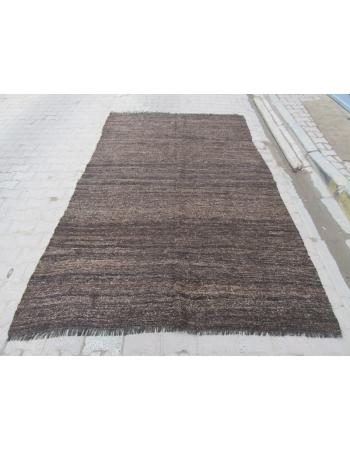 Vintage Brown Plain Kilim Rug