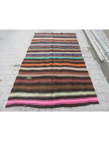 Colorful Striped Vintage Unique Turkish Kilim Rug