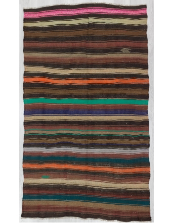 Colorful Striped Vintage Unique Turkish Kilim Rug