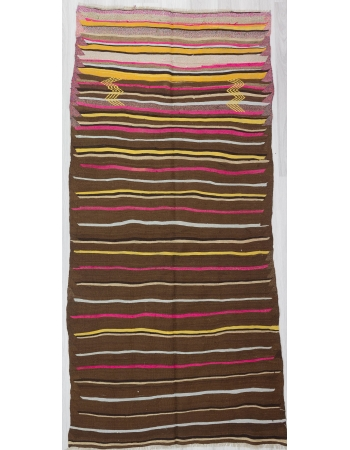 Pink / Yellow / Brown Striped Vintage Kilim Rug